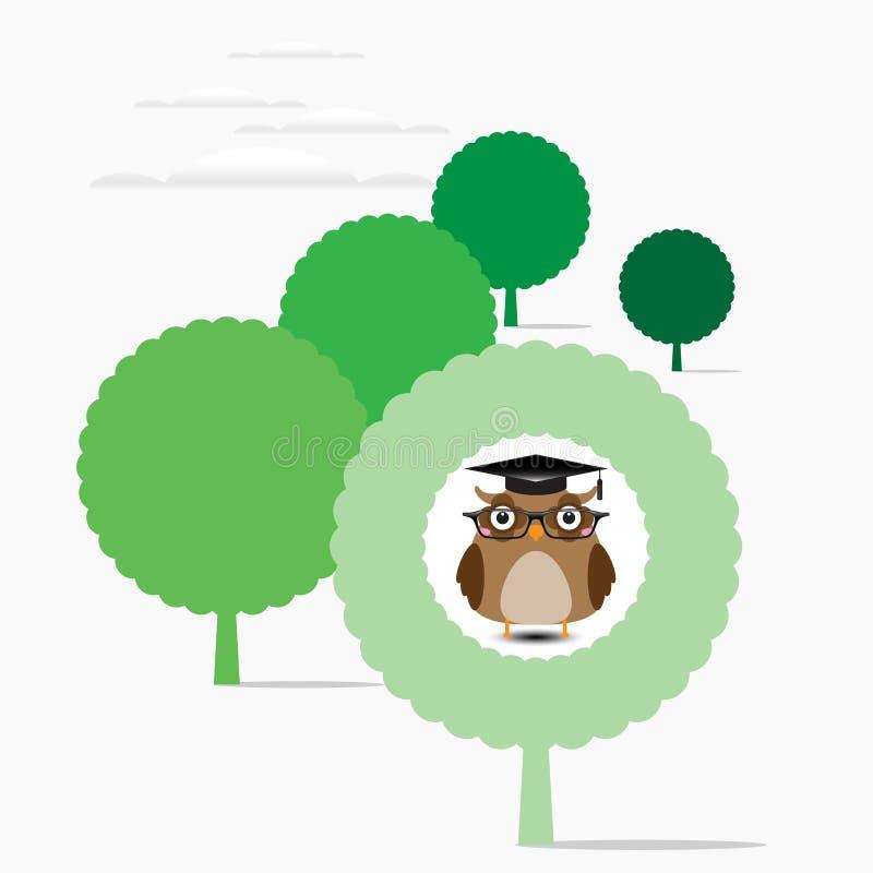 Coruja sábia de Brown na árvore ilustração royalty free