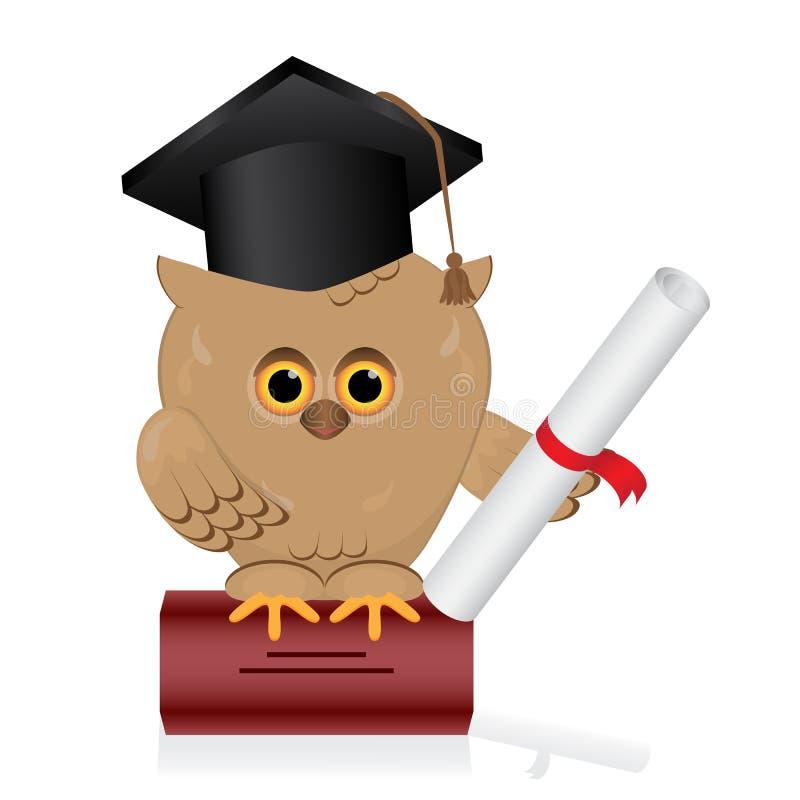 A coruja sábia senta-se em um livro de conhecimento Pássaro com graduado ha do preto ilustração do vetor