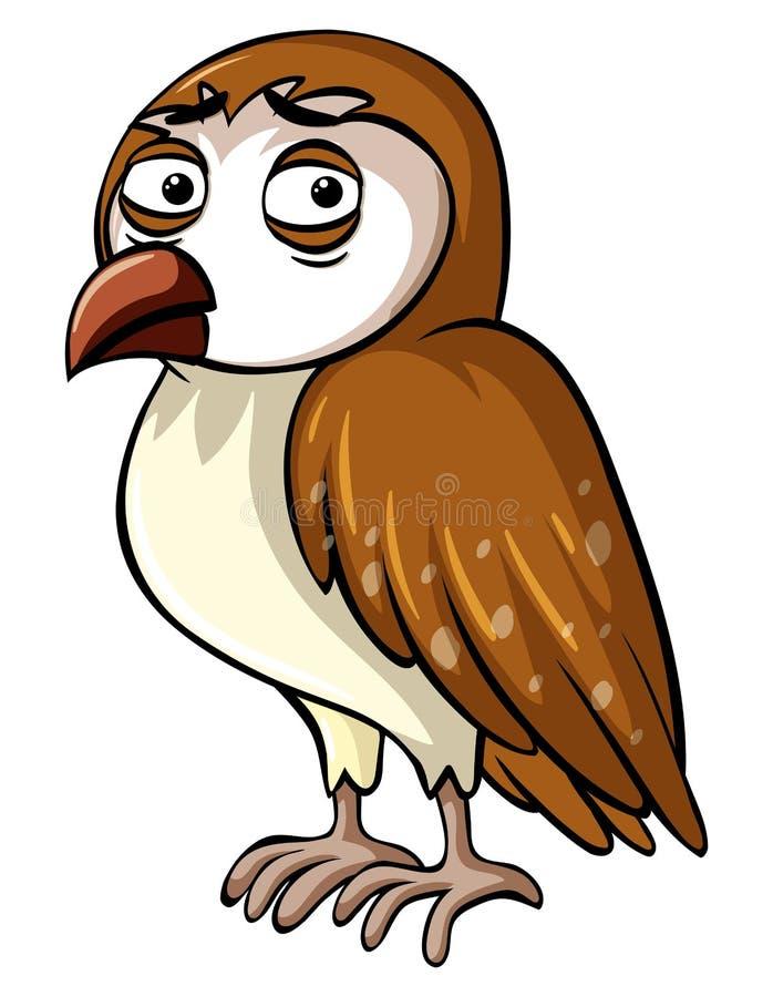 Coruja selvagem com cara triste ilustração stock