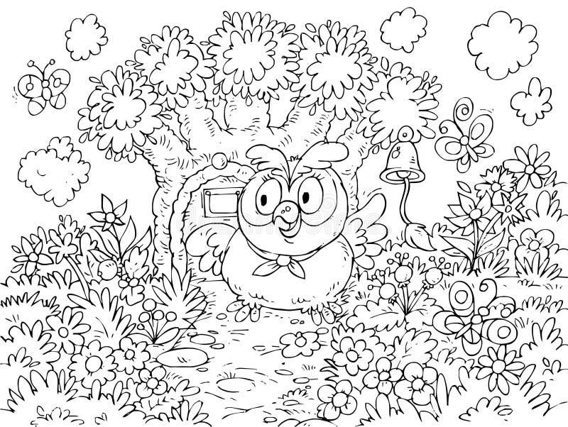 A coruja soa o sino que pendura em uma árvore ilustração do vetor