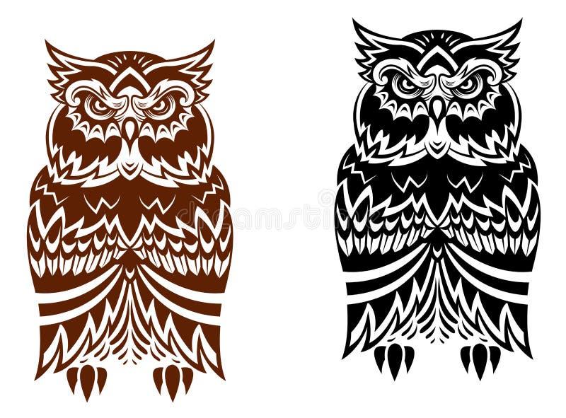 Coruja tribal com ornamento decorativo ilustração stock
