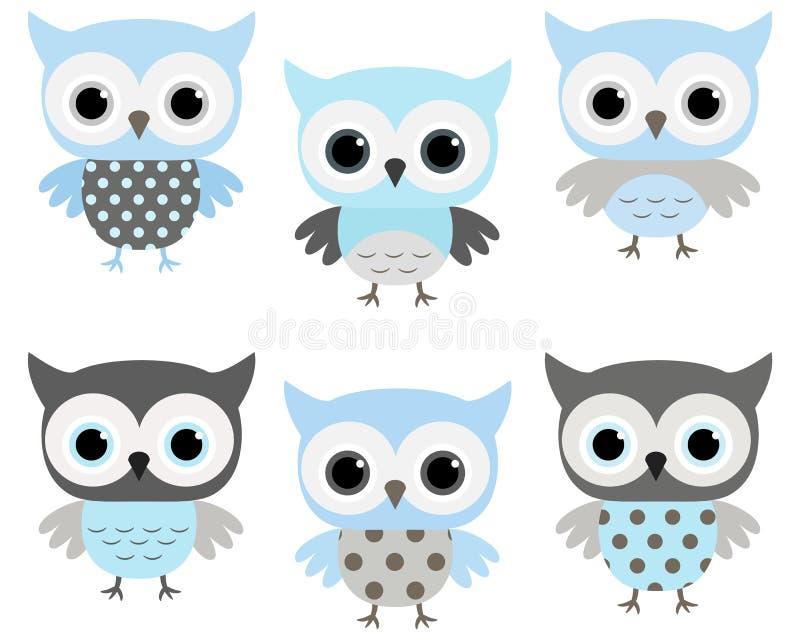 Corujas azuis e cinzentas bonitos do vetor ilustração stock
