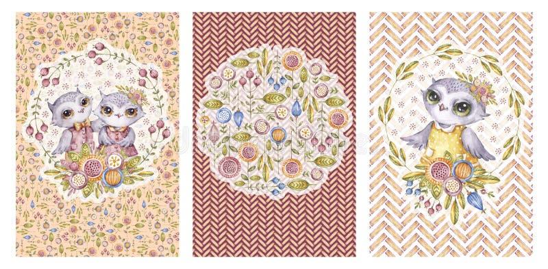 Corujas bonitos do aquarelle, coleção da tampa do cartão ilustração stock
