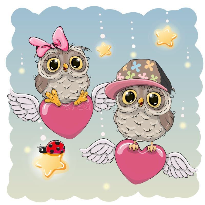 Corujas bonitos dos amantes ilustração do vetor