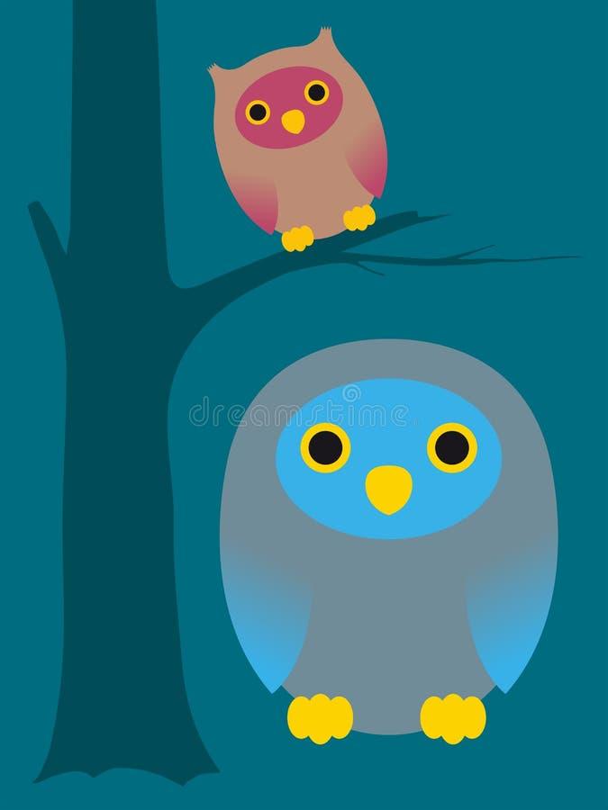 Corujas bonitos dos desenhos animados ilustração stock
