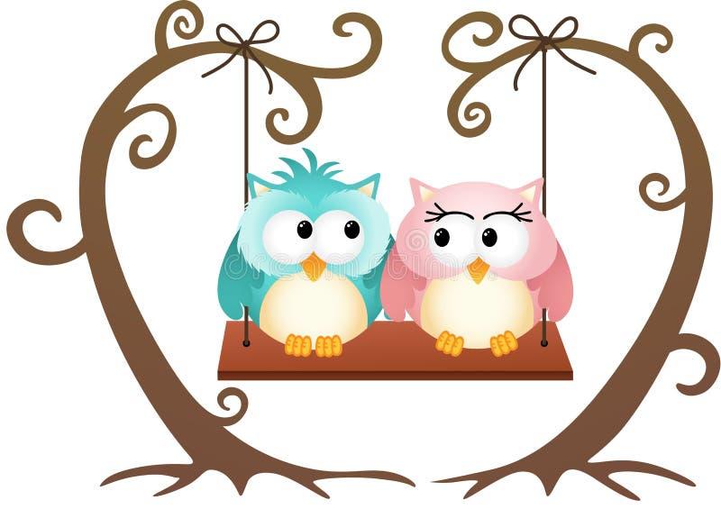 Corujas bonitos dos pares no amor em um balanço ilustração stock