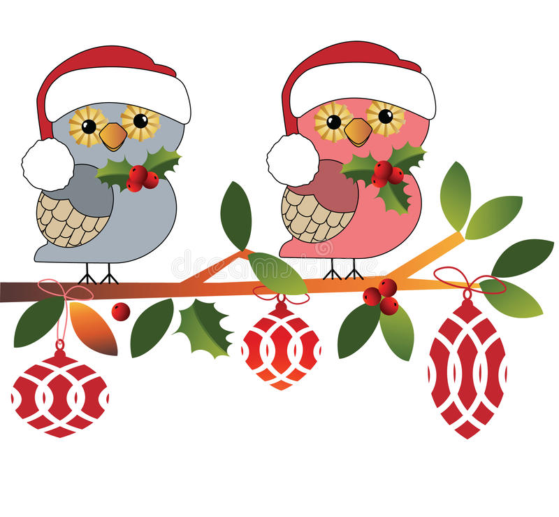 Corujas bonitos em chapéus de Santa ilustração stock
