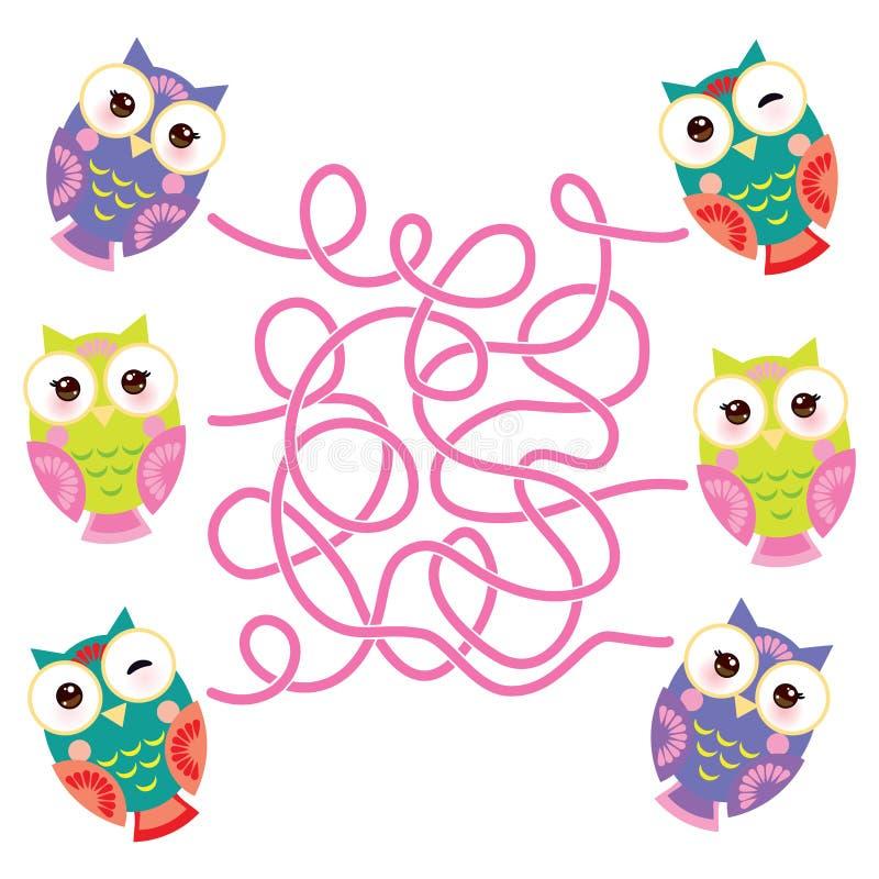 Corujas coloridas brilhantes ajustadas no fundo branco jogo do labirinto para crianças prées-escolar Vetor ilustração royalty free
