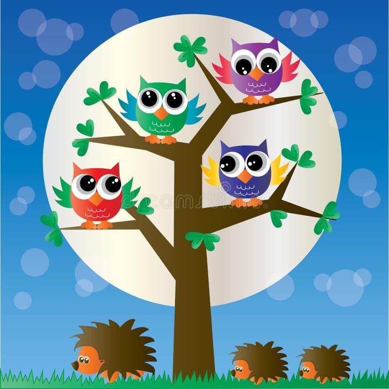 Corujas coloridas de um ow completo da árvore ilustração stock
