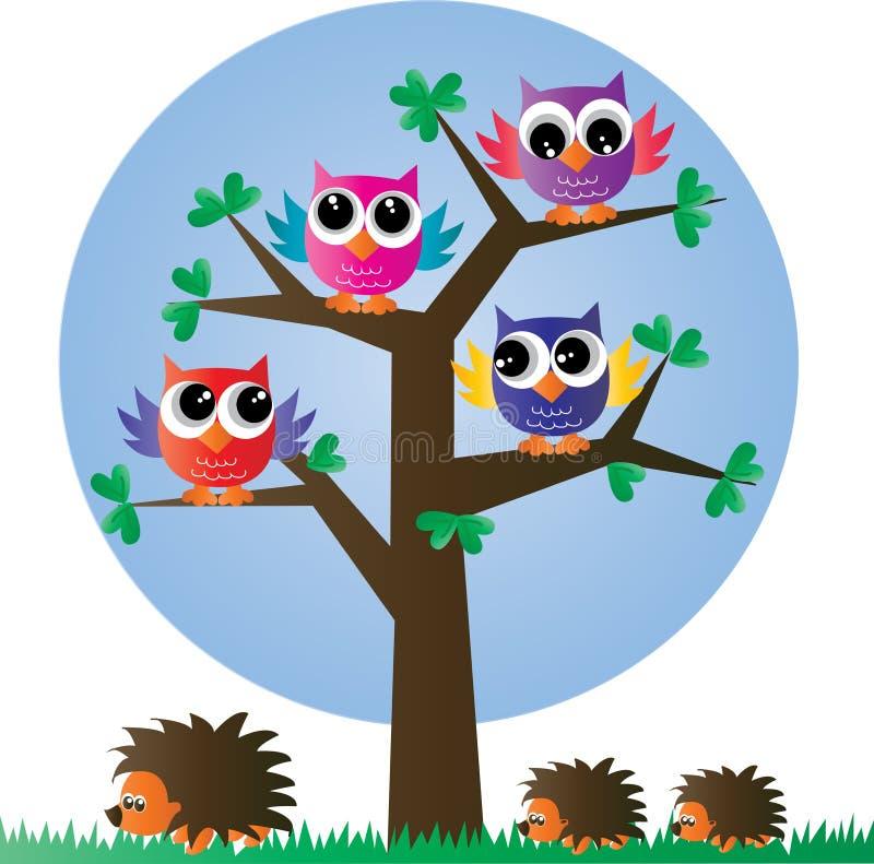 Corujas coloridas de um ow completo da árvore ilustração royalty free