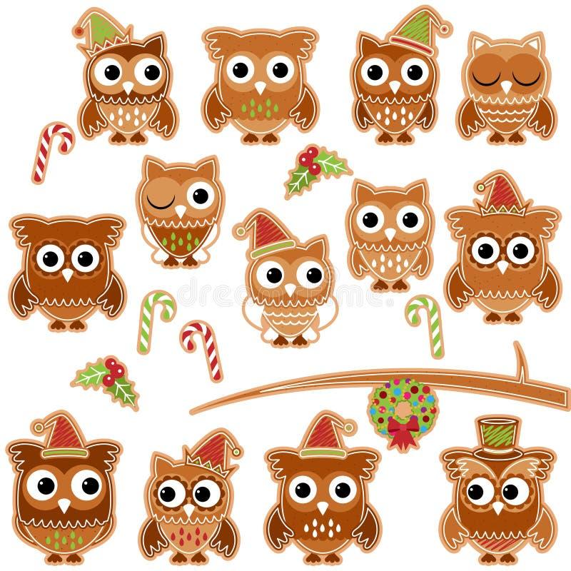 Corujas da cookie do pão-de-espécie do feriado do Natal no formato do vetor ilustração royalty free