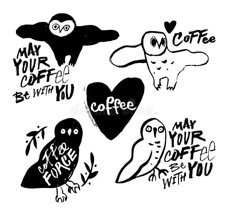 Corujas da garatuja Amantes do café Inscrição do estilo do Grunge ilustração royalty free