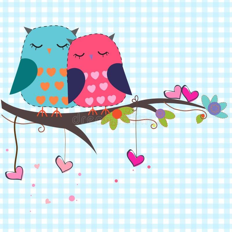 Corujas dos amantes com fundo do vetor dos corações ilustração royalty free