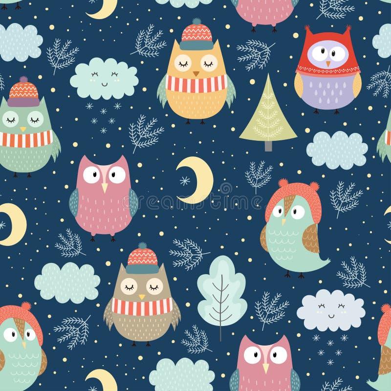 Corujas engraçadas do inverno no teste padrão sem emenda da noite ilustração royalty free