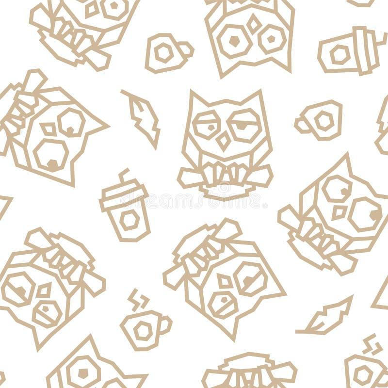 Corujas engraçadas e teste padrão sem emenda poli do café da manhã baixo Linhas de Brown no fundo branco ilustração do vetor