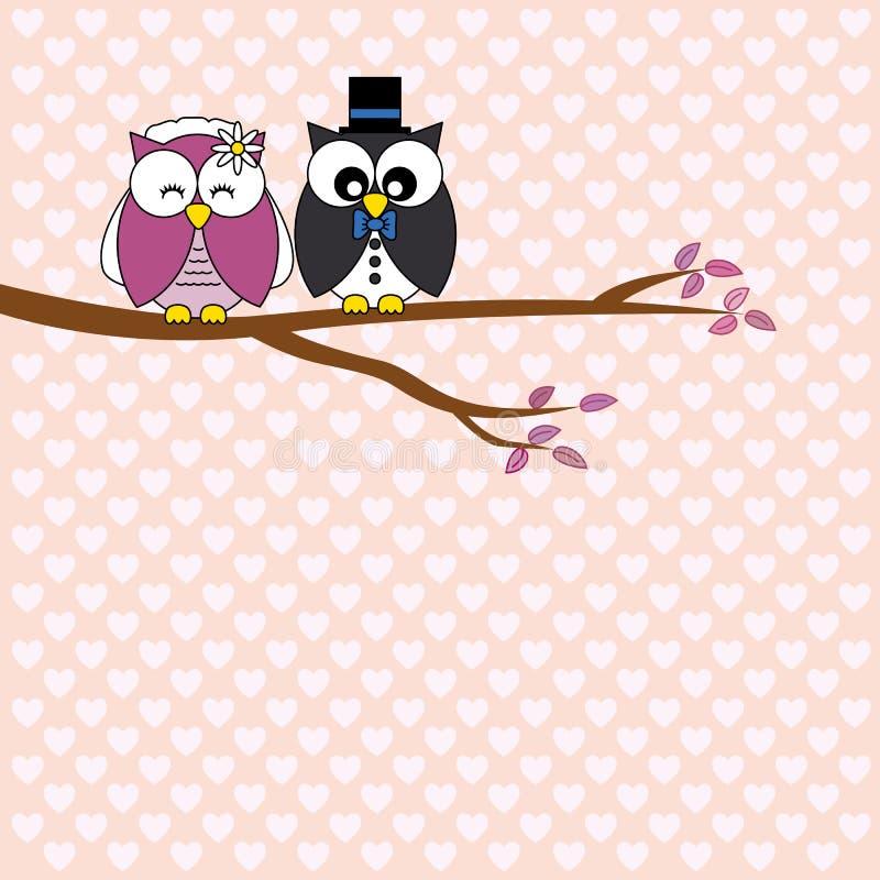 Corujas no amor ilustração stock