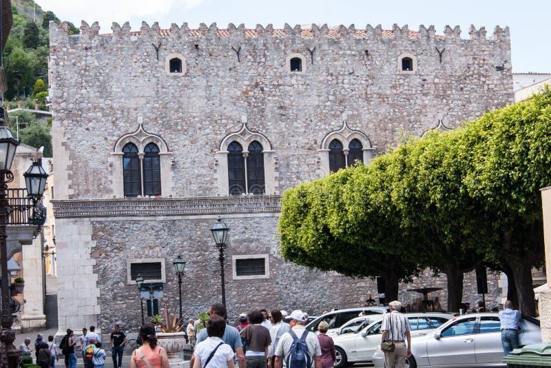 Corvaja Palazzo, in Taormina, Sicilië, Italië royalty-vrije stock afbeelding