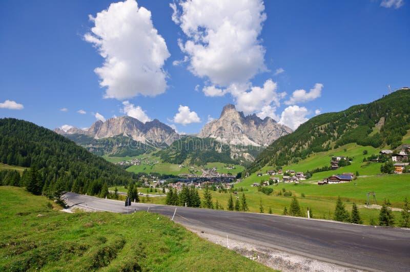 Corvara in Badia - Dolomiet, Italië stock foto's