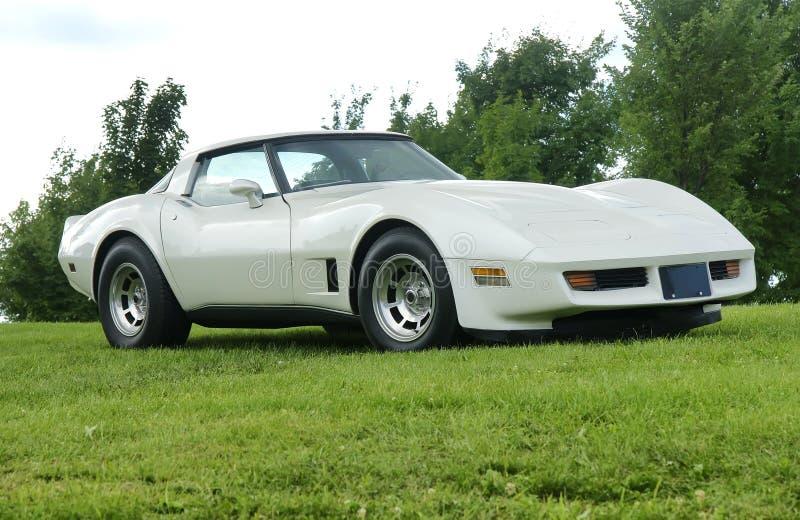 Corvette. Picture of white chevrolet corvette stingray royalty free stock photos
