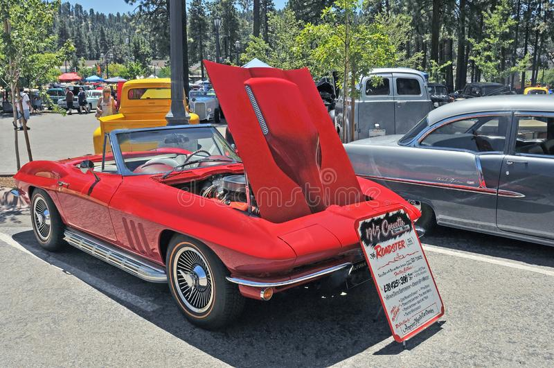 1965 Corvette Roadster. A young man`s dream, this 1965 Chevy Corvette roadster is powered by a 396 C.I. V-8 engine. This model had side pipes and hidden stock images