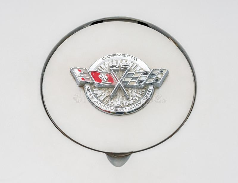 Corvette 25th anniversary badge stock images