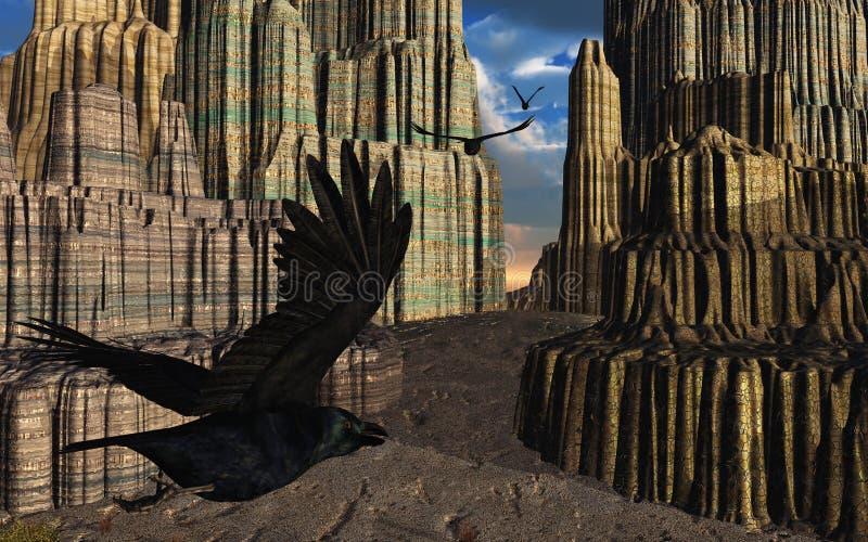 Corvi che volano in canyon di fantasia royalty illustrazione gratis