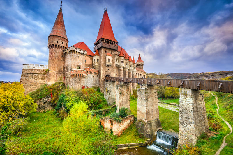 Corvin Castle - Hunedoara, Transylvania, Romania. Hunyad Castle - Beautiful panorama of the Corvin Castle with wooden bridge, Hunedoara, Transylvania, Romania