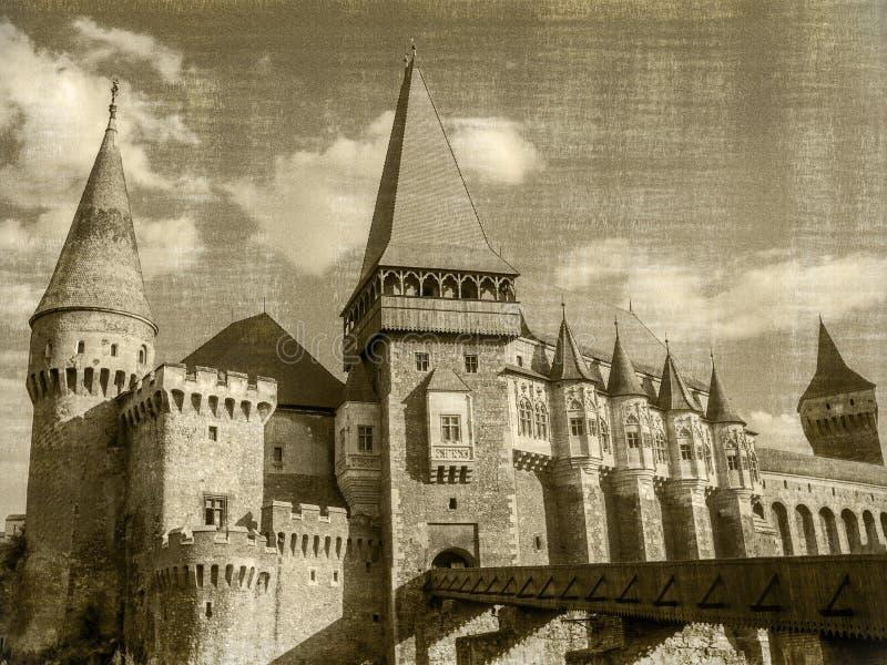 Corvin ` s城堡的全景在胡内多阿拉 免版税库存照片