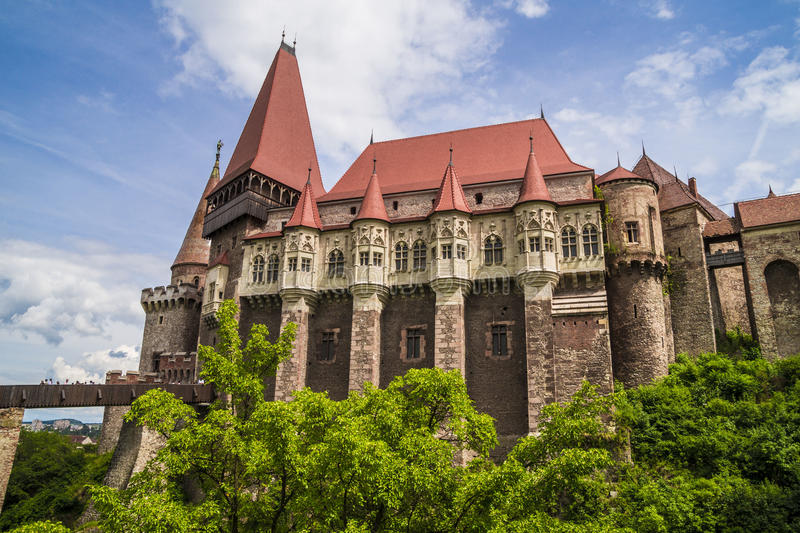 Corvin slott i Hunedoara, Rumänien royaltyfri bild