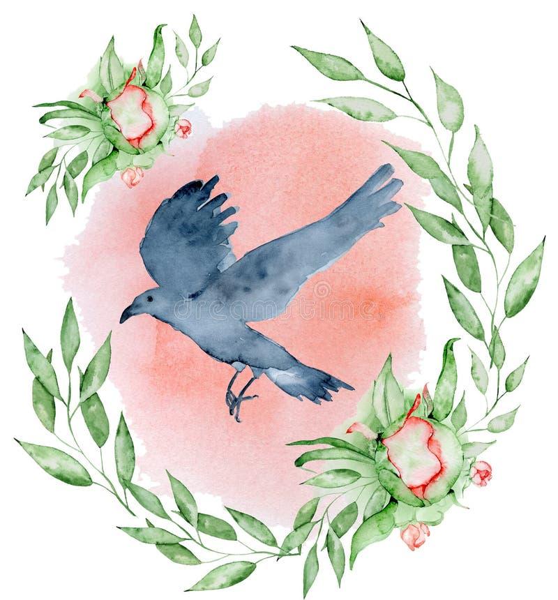 Corvo del nero dell'acquerello con il corvo disegnato a mano della corona floreale della peonia con i fiori illustrazione vettoriale