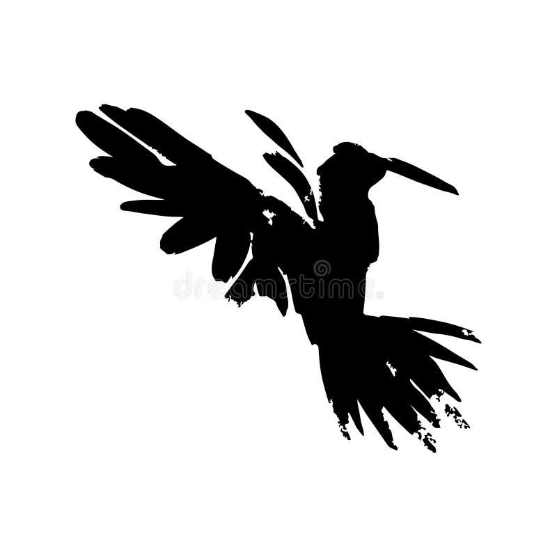 corvo dell'acquerello Merlo artistico disegnato a mano Singola illustrazione isolata del corvo nel vettore illustrazione vettoriale