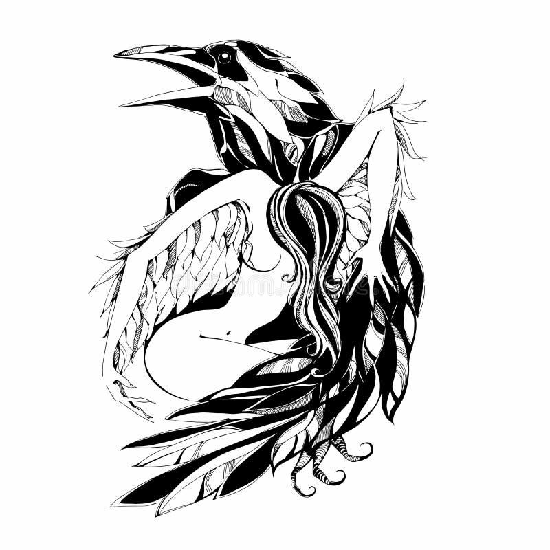 Corvo e anjo tattoo protetor patron Ilustração do vetor ilustração stock