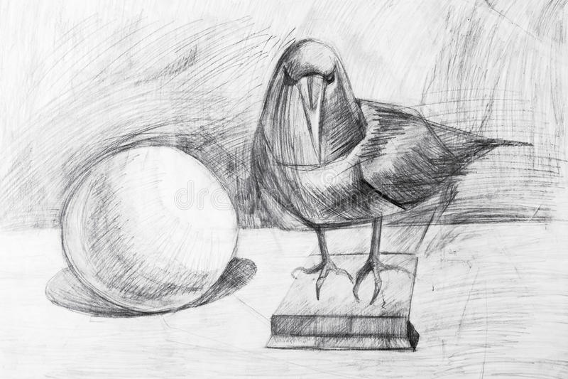 Corvo e a bola tirada com um lápis imagens de stock royalty free