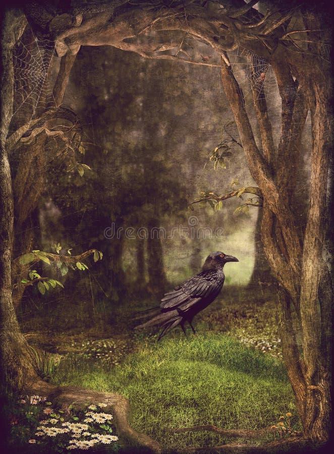 Corvo na floresta ilustração do vetor