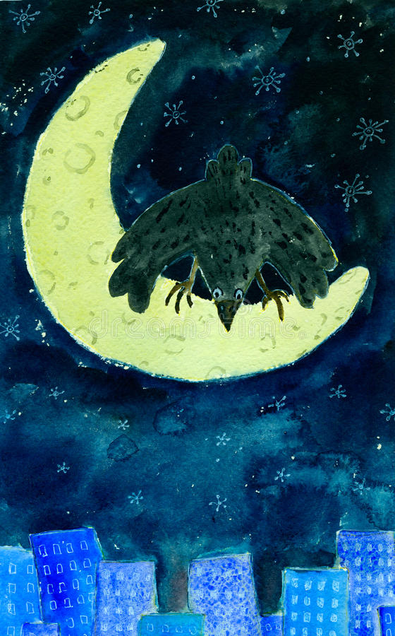 Corvo na lua ilustração royalty free