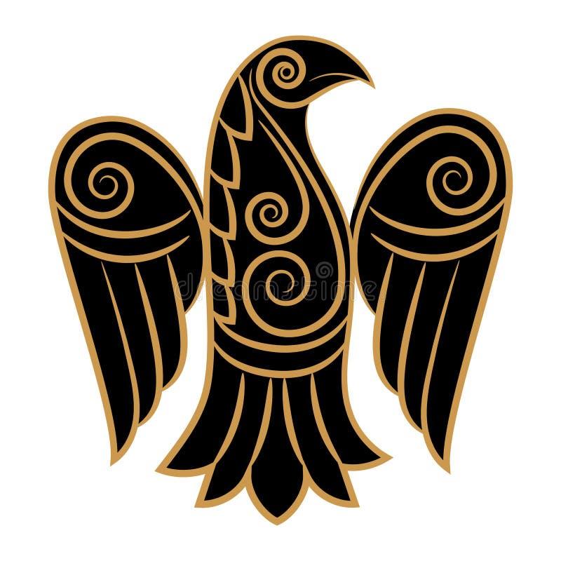 Corvo no céltico, estilo escandinavo ilustração do vetor