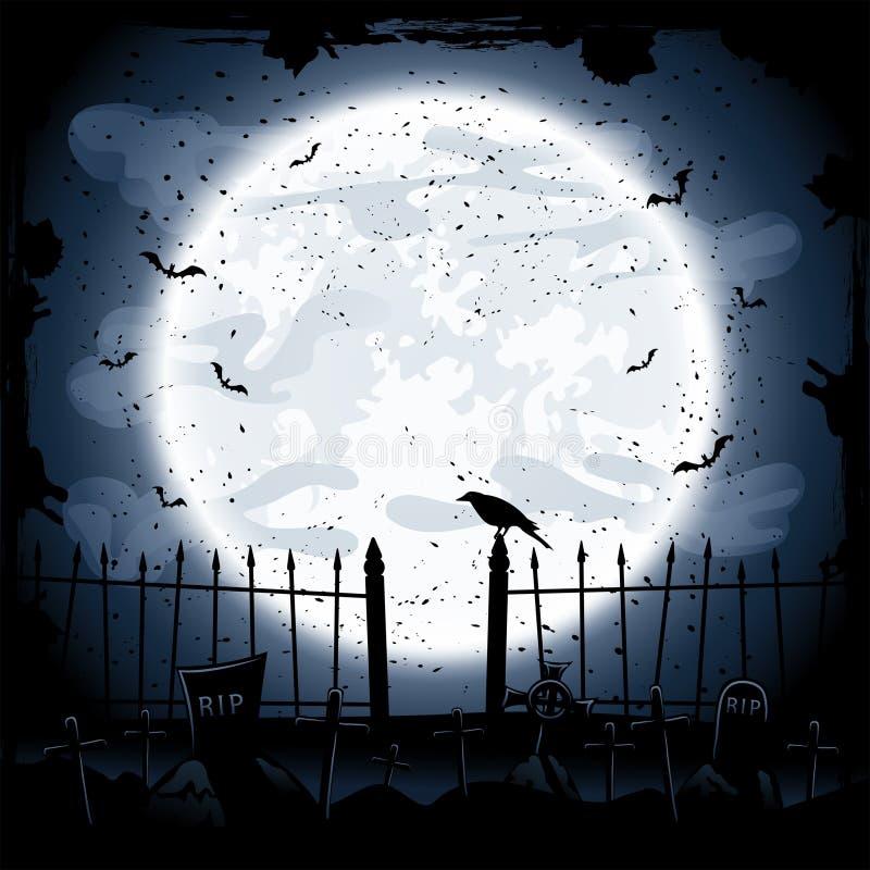 Corvo no cemitério ilustração stock
