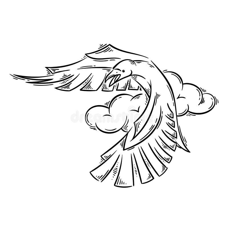 Corvo no estilo abstrato da tatuagem ilustração royalty free