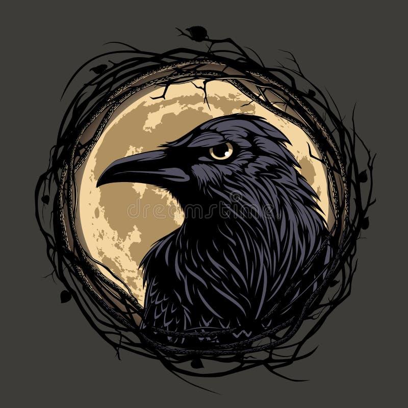 Corvo no fundo da noite ilustração do vetor