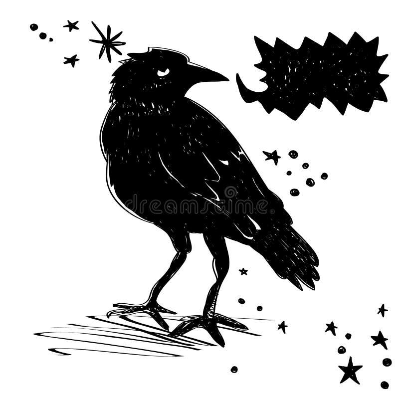 Corvo preto com bolha para sua mensagem ou imagem ilustração stock