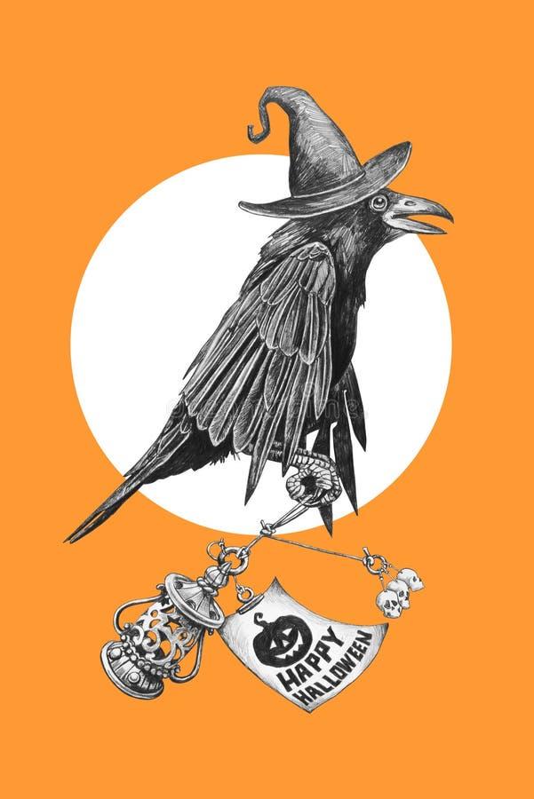 Corvo preto em um chapéu das bruxas ilustração do vetor