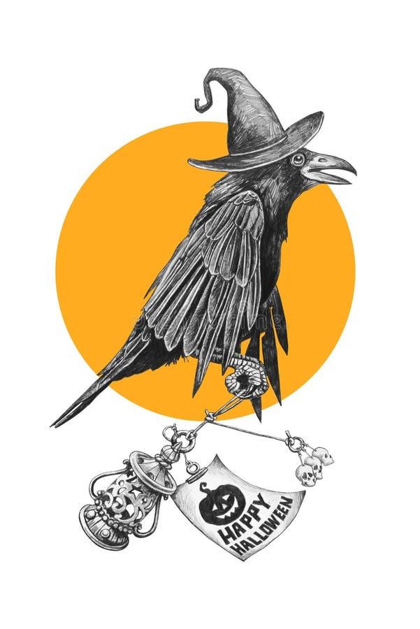 Corvo preto em um chapéu das bruxas ilustração royalty free