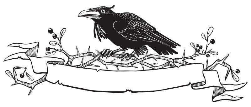 Corvo preto no ramo do arbusto do espinho com um lugar para seu texto ilustração stock