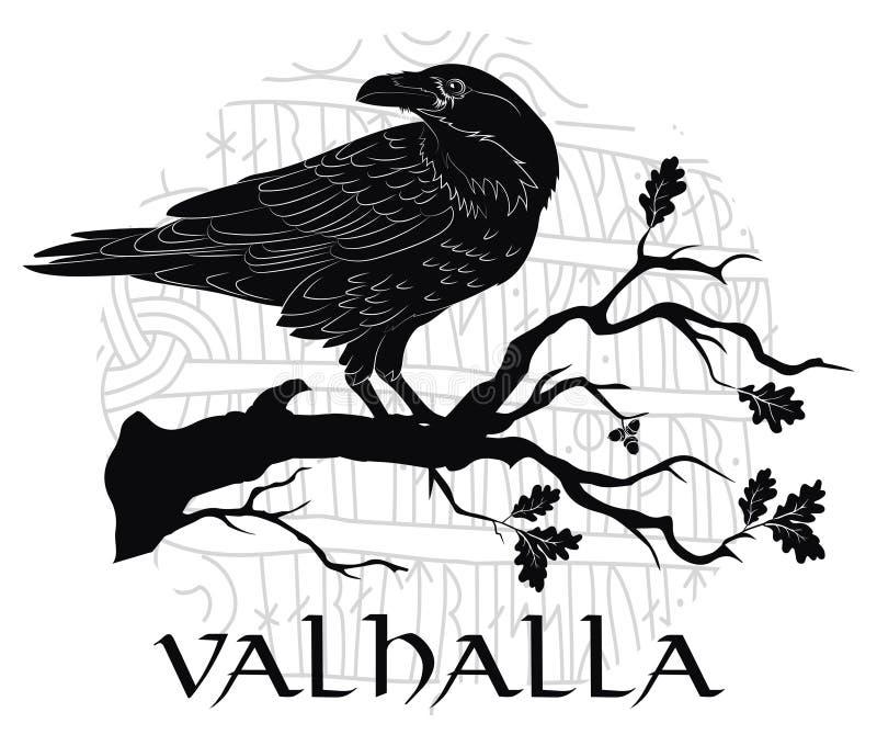 Corvo preto que sentam-se em um ramo de um carvalho, e runas escandinavas, cinzeladas na pedra ilustração do vetor