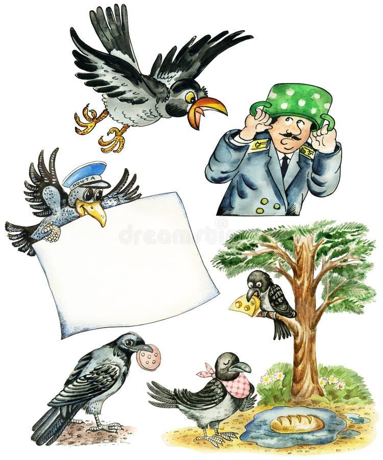 Corvos engraçados ilustração royalty free