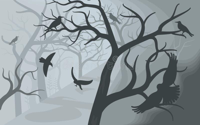 Corvos pretos em uma floresta nevoenta terrível ilustração stock