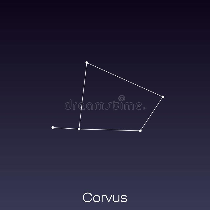 Constellation as it can be seen by the naked eye. Corvus constellation as it can be seen by the naked eye vector illustration