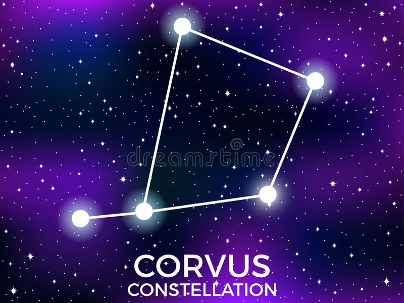 Corvus constellation. Starry night sky. Cluster of stars and galaxies. Deep space. Vector. Illustration stock illustration
