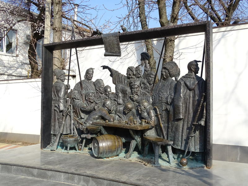 Cosacos del monumento que escriben una letra al sultán turco imagen de archivo libre de regalías