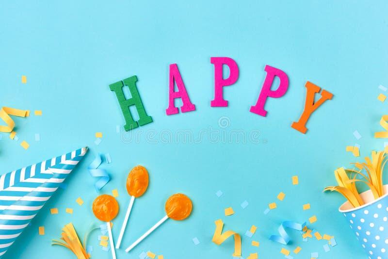 Cosas de la fiesta de cumpleaños Concepto de la celebración Endecha plana fotos de archivo libres de regalías